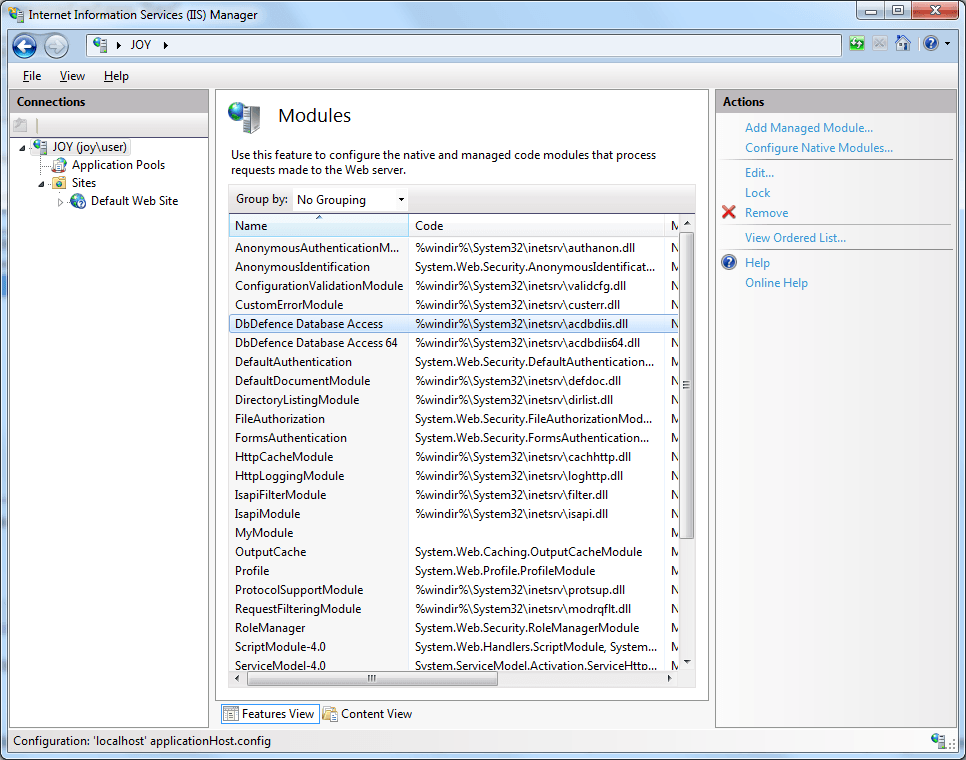 How to access encrypted database from IIS and web based
